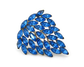 1930s Something Blue Rhinestone Dress Clip • Huge Faceted Glass Brooch • Vintage Art Deco Jewelry