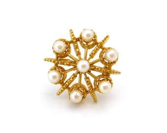 Signed ART Faux Pearl Brooch • Small Gold-tone Circle Pin • Vintage 1960s Jewelry