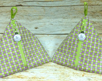 Green & Purple Check - Llexical Notions Pouch - Knitting, Crochet, Spinning Accessory Bag