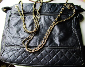 Jay Herbert Vintage Quilted Black Soft Leather Crossbody Handbag Double Gold Chain Chain Retro Art Deco