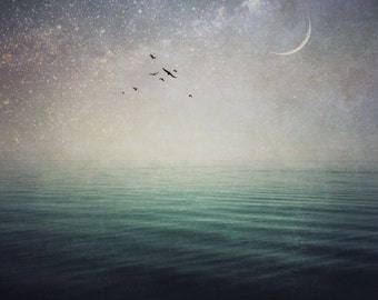 crescent moon fine art photo, lake ocean landscape photography, dramatic home decor, bedroom wall, large canvas, purple, teal, surreal sky