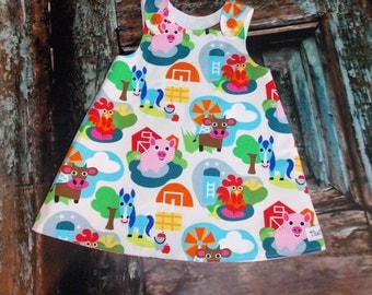 Down on the Farm Barnyard Aline Dress Sz 2T 3T 4T 5 6 7 8 10 Handmade in Usa That's So Addie Birthday Cow Horse Pig Rooster Petting Zoo
