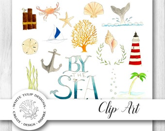 Watercolor Clipart - By The Sea, Instant Download, Handpainted, Detailed Artwork