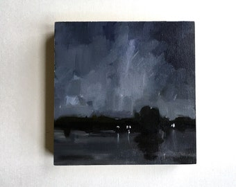 """SALE Lights on the Lake, Nocturne  • original oil painting 5x5"""""""