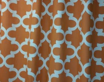Fynn apache orange and natural, Designer fabric shower curtain, quatrefoil,