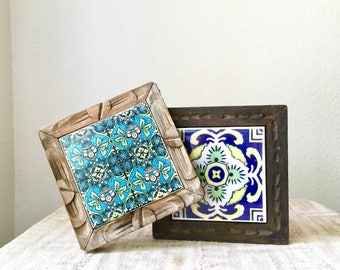 Vintage Wooden Trivets With Mexican Tiles, Set of 2