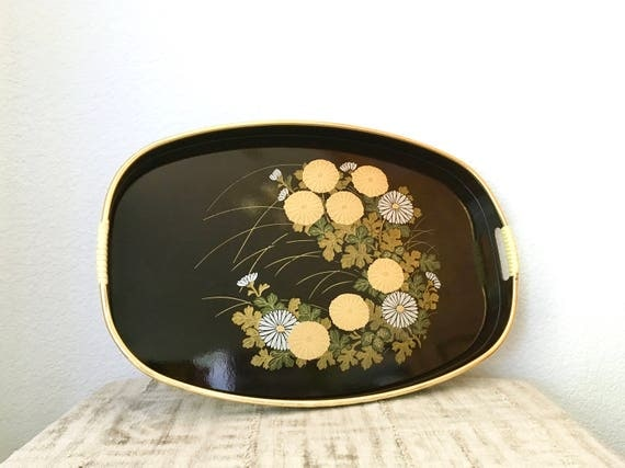 Japanese Lacquer Ware Floral Tray, Gold and Black