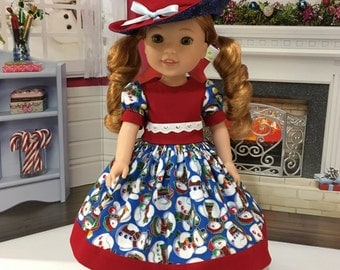 "Wellie Wishers ""Winter Fun""  Dress, slip, shoes, and hat fits WW dolls by American Girl"