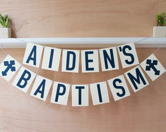 Baptism Banner - Personalized Baptism Sign with Name - Custom Colors - Baptism Photo Prop