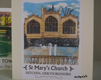 Hitchin Prints Card: St Mary's Church