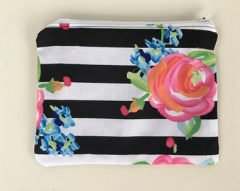 Reusable Sandwich Bag,  Zipper Bag  - Floral Stripes