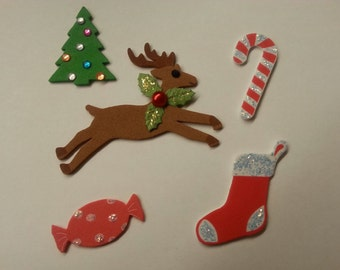 Christmas Set Candy Cane Reindeer Tree Scrapbook Page Paper Piecing Card Making