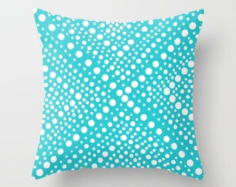 Aqua OUTDOOR Throw Pillow - Modern White Patio Cushion - Turquoise Geometric X Dot - Outdoor Pillow 16 18 20 inch - Outside Pillow