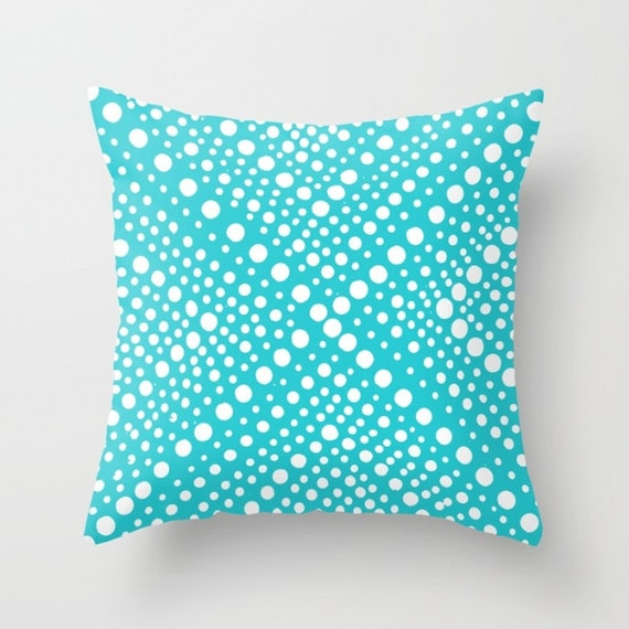 Aqua OUTDOOR Throw Pillow . Modern White Patio Cushion . Turquoise Geometric X Dot . Outdoor Pillow 16 18 20 inch . Bolster Outside Pillow