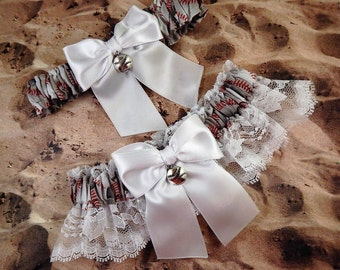 Baseball White Satin White Lace Ready to ship Baseball Charm Wedding Garter Toss Set