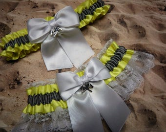 Firefighter Bright Yellow Gray Satin White Lace Fire Axe Helmet Charm Wedding Bridal Garter Toss Set