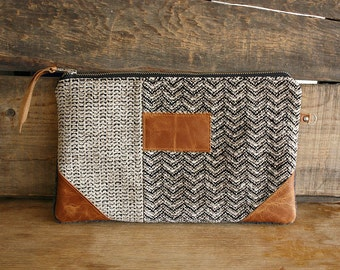 Chevron chenille clutch with leather trim Credit card slots  --Ready to ship--