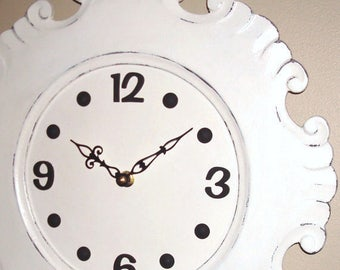 SILENT Cream Cottage Chic Distressed Wall Clock - Large Wall Clock - Unique Wall Clock - Wall Decor - 2331