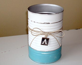 MORE COLORS Desk Accessories with Initial Charm, Makeup Brush Holder, Rustic Tin Can Pencil Holder, Desk Organizer, Fun Dorm Decor - 938