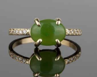 Jade and Diamond Ring - Delicate Natural Jade 14k Ring - Solid 14k Gold with a Genuine Green Jade - Rose Yellow White
