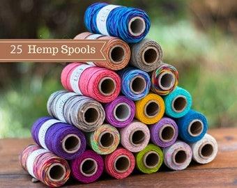 Bulk Hemp Cord,   1mm,  25 Spools, Hemp Jewelry Cord, Bead Cord,  Bracelet Cord,  Wholesale Hemp Cord, Choose The Colors