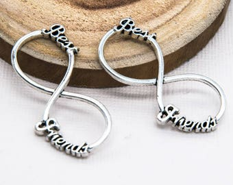 Best Friends Infinity Connector, Silver Charms, 8pcs, 40x18mm, Infinity Charm -C845