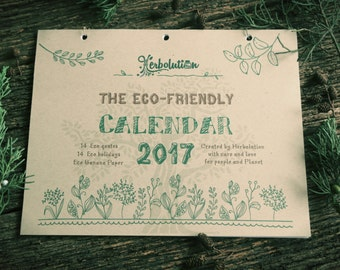Eco-friendly 2017 Calendar, Wall Desk Planner 16 Eco-holidays and 12 Eco-quotes. SALE! WAS 15