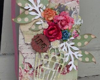 Art Tag Handmade Mixed Media Shabby Chic Tag Ornament