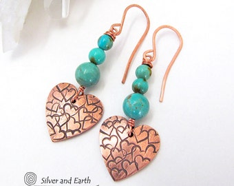 Copper Heart Earrings, Turquoise Earrings, Romantic Heart Jewelry, Copper Anniversary Gift, Mother's Day Gift, Copper & Turquoise Earrings