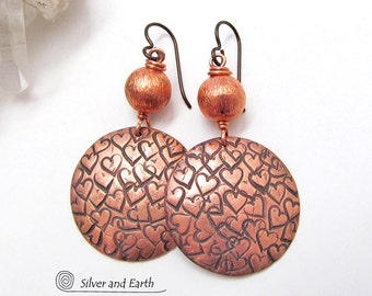 Copper Earrings, Stamped Heart Earrings, Handmade Artisan Jewelry, 7th Copper Wedding Anniversary Gift, Mother's Day Gift, Romantic Jewelry