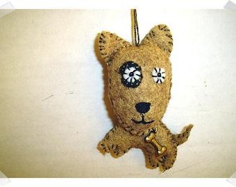 Brown Dog Ornament/ Made of Felt/Handmade*/ Single / MADE to Order**