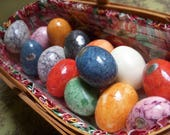 Alabaster Eggs, Set of 14, Vintage Hand Carved Italian Eggs, Made in Italy, Easter Decor, Multi Color Lot of 14 Stone Eggs