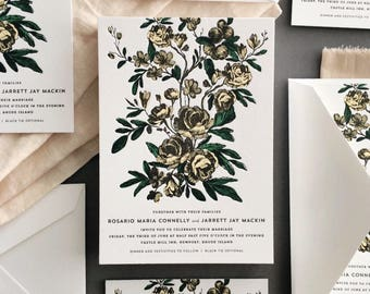 Floral Wedding Invitation, Flower Wedding Invitation, Vintage Botanical Wedding Invitation, Letterpress Wedding, Victorian Flower Invitation