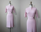 Vintage Knit Dress - 50s 60s Knit Sweater Dress and Belt - Rare Pink w Carved Shell Details S - Turn of Phrase Dress