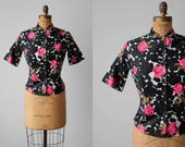 1950s Dark Floral Blouse - Vintage 50s Top - Black Polished Cotton Rose Print Shirt XS S - Off the Beaten Path Blouse