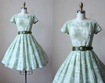 1950s Dress - Vintage 50s Dress - Green Windowpane Floral Print Voile Cotton Full Skirt Dress S - Leaf Music Dress
