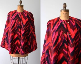 1960s Tiger Cape - 60s Faux Fur Hot Pink Purple Cloak OSFM - There Be Tygers Cape
