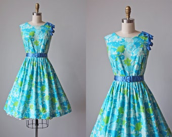 50s Dress - Vintage 1950s Dress - Vibrant Aqua Lime Floral Print Cotton Full Skirt Sundress XL - Laguna Verde Dress