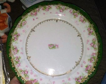 Imperial Crown China Austria Plate- Pink Roses