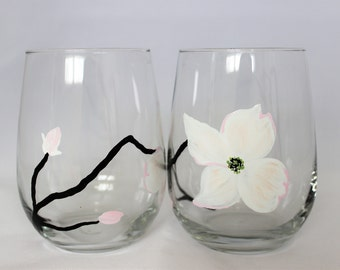 White dogwood blossoms, hand painted stemless wine glasses,  set of 2 Ready to Ship