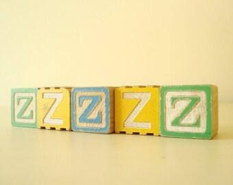 Alphabet blocks, sleepy ZZZs children's wooden blocks, vintage blocks, letter Z, vintage wood blocks, new baby gift, photo prop