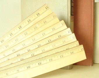 "Westcott 15"" wood ruler collection, 7 vintage rulers with brass edge, lacquered wood, vintage supplies, instant collection"