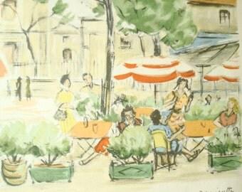 Place du Tertre, Montmartre, Paris, mid-century art print, colorful foliage and striped umbrellas, souvenir of Paris, French apartment style