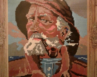 Vintage NIP Famous Masterpieces in Needlepoint WonderArt Kit 6802 NOS The Fisherman