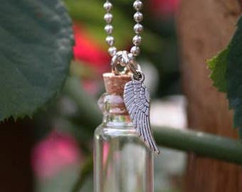 Angel Wing - Ashes Urn - Cremation Necklace - Ashes Holder - Vial Key Chain - Bottle Pendant