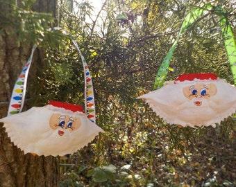 Set of 2 Mini Crab Shell Santa Ornaments- hand painted