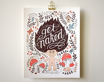 Art Print, Bathroom Art, Wall Art, 8x10, 11x14 - Get Naked Troll