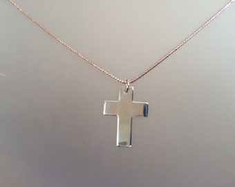 Two-tone Rose Gold and Sterling Silver Large Cross Necklace, Faith, Christian, Unisex, mens Everyday Jewelry