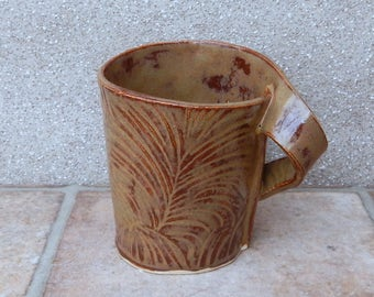 Coffee mug tea cup in textured stoneware ceramic pottery handmade