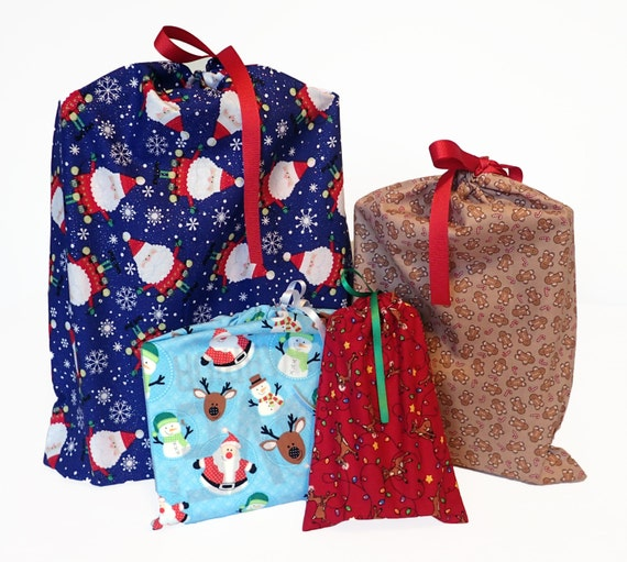 Christmas fabric gift bags earth friendly set of reusable